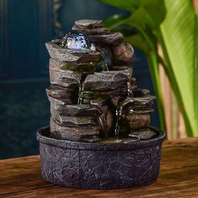 Fontaine d'intérieur Cascade Satya atmosphère zen relaxation détente décoration éclairage LED