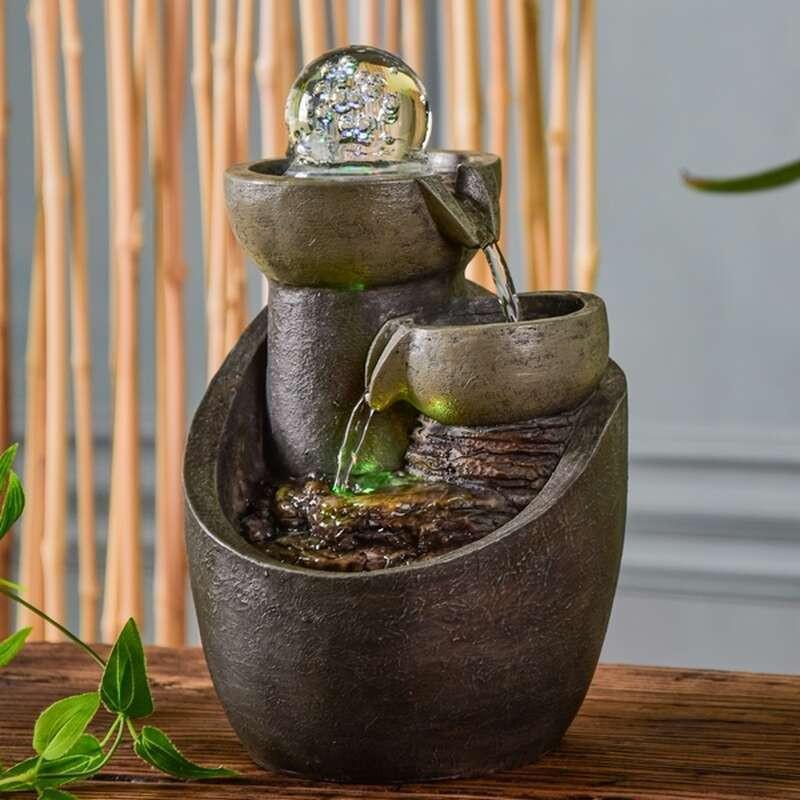 Fontaine d'intérieur Cascade Malla atmosphère zen relaxation détente décoration éclairage LED