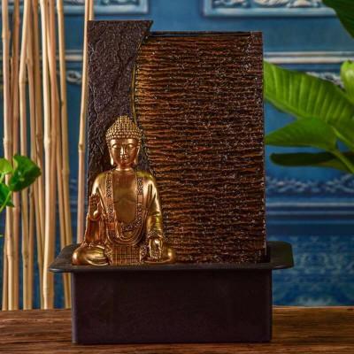 Fontaine d'intérieur Bouddha Jati atmosphère zen relaxation détente Mur d'eau décoration éclairage LED