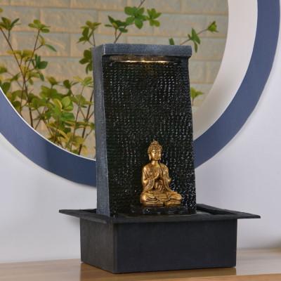 Fontaine d'intérieur Bouddha Zenitude atmosphère zen relaxation détente Mur d'eau décoration éclairage LED statuette amovible