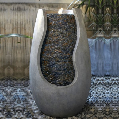Fontaine extérieur grande taille Moderne Molly atmosphère zen relaxation détente Mur d'eau décoration éclairage LED
