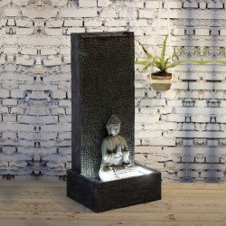 Fontaine grande taille Mur Bouddha atmosphère zen relaxation détente Mur d'eau décoration éclairage LED