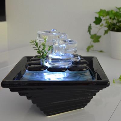 Fontaine d'intérieur Cristal Line Himalaya atmosphère zen relaxation détente décoration éclairage LED