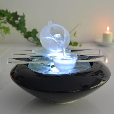 Fontaine d'intérieur Cristal Line Tea Time atmosphère zen relaxation détente décoration éclairage LED