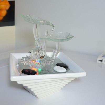 Fontaine d'intérieur Cristal Line Flower atmosphère zen relaxation détente décoration éclairage LED