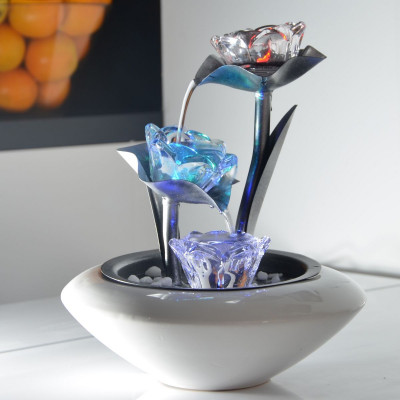 Fontaine d'intérieur Cristal Line Floréa atmosphère zen relaxation détente décoration éclairage LED