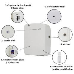 Diffuseur sans fil intelligent capteur de luminosité nomade flacon détail explication notice grande surface pro